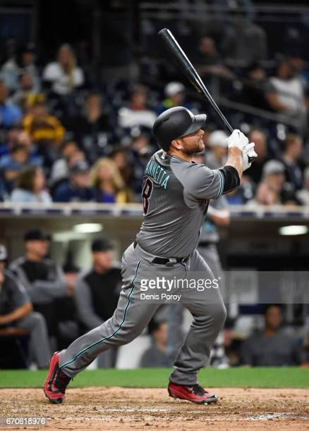 Chris Iannetta of the Arizona Diamondbacks plays during a baseball game against the San Diego Padres at PETCO Park on April 18 2017 in San Diego...
