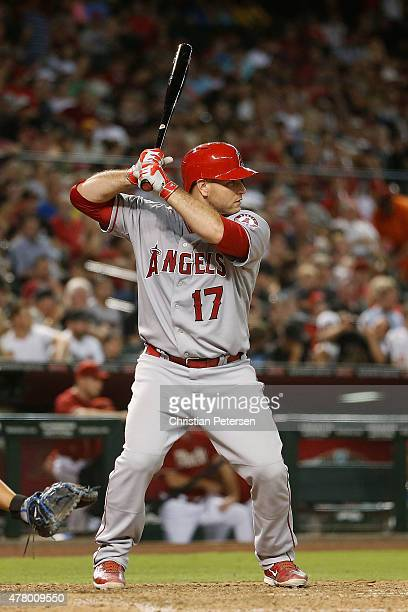 Chris Iannetta of the Los Angeles Angels bats against the Arizona Diamondbacks during the MLB game at Chase Field on June 17 2015 in Phoenix Arizona...