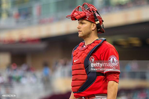 Chris Iannetta of the Los Angeles Angels looks on in the second game of a doubleheader against the Minnesota Twins on September 19 2015 at Target...