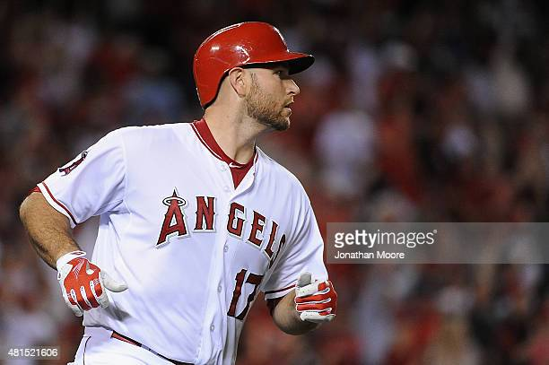 Chris Iannetta of the Los Angeles Angels of Anaheim looks on after hitting a home run in the fifth inning during a game against the the Minnesota...