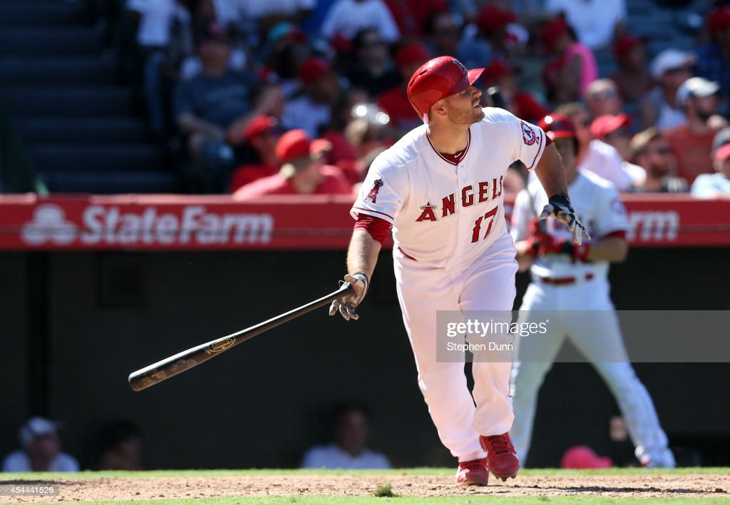 <a gi-track='captionPersonalityLinkClicked' href=/galleries/search?phrase=Chris+Iannetta&family=editorial&specificpeople=836137 ng-click='$event.stopPropagation()'>Chris Iannetta</a> #17 of the Los Angeles Angels of Anaheim watches his solo home run in the eighth inning against the Oakland Athletics at Angel Stadium of Anaheim on August 31, 2014 in Anaheim, California. The Angels won 8-1 to complete a four game sweep.