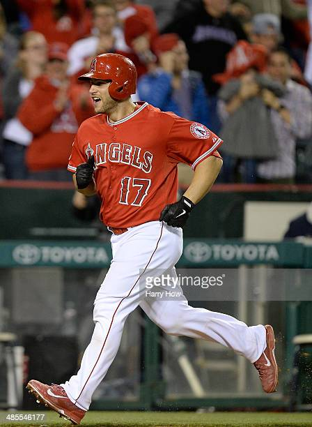 Chris Iannetta of the Los Angeles Angels reacts to his solo homerun to win the game 54 over the Oakland Athletics during the 12th inning at Angel...