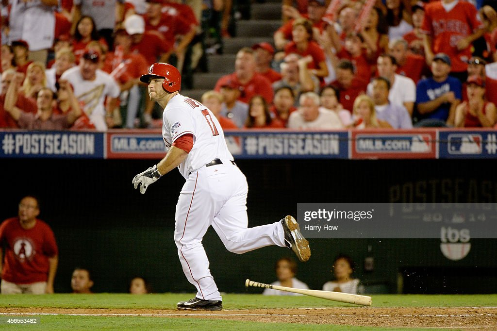 <a gi-track='captionPersonalityLinkClicked' href=/galleries/search?phrase=Chris+Iannetta&family=editorial&specificpeople=836137 ng-click='$event.stopPropagation()'>Chris Iannetta</a> #17 of the Los Angeles Angels watches his solo home run in the third inning against the Kansas City Royalsduring Game One of the American League Division Series at Angel Stadium of Anaheim on October 2, 2014 in Anaheim, California.