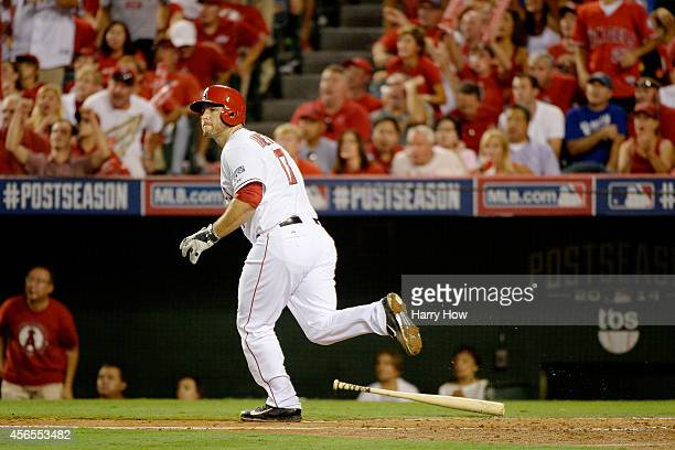 Chris Iannetta of the Los Angeles Angels watches his solo home run in the third inning against the Kansas City Royalsduring Game One of the American...