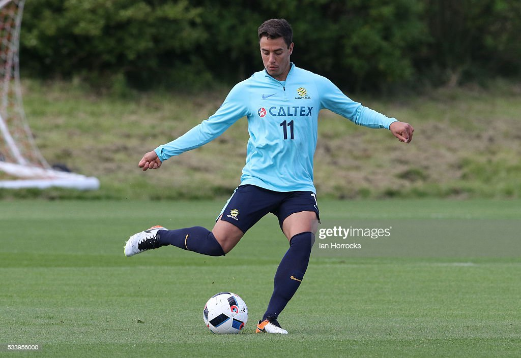 Chris Ikonomidis during a Australia National football team training session at The Academy of Light on May 24, 2016 in Sunderland, England.
