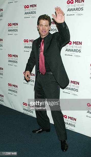 Chris Isaak during 2002 GQ Men of the Year Awards Press Room at Hammerstein Ballroom in New York City New York United States
