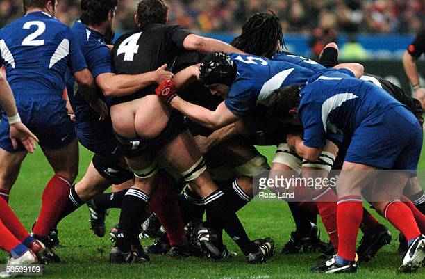Chris Jack has his shorts pulled down during the All Blacks 456 win over France at Stade de France Saturday November28 2005