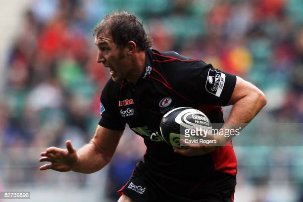 Chris Jack of Saracens runs with the ball during the Guinness Premiership match between Saracens and Harlequins at Twickenham on September 6 2008 in...
