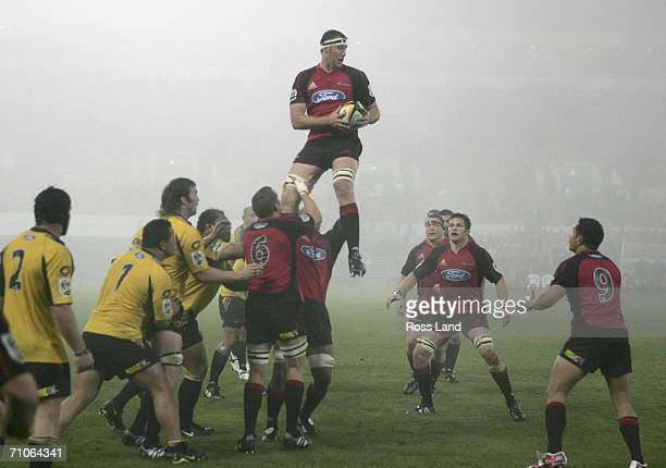Chris Jack of the Crusaders takes the lineout ball during the Super 14 final match between the Crusaders and the Hurricanes at Jade Stadium May 27...