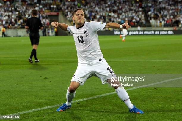 Chris James of New Zealand celebrates after scoring a goal during leg 2 of the FIFA World Cup Qualifier match between the New Zealand All Whites and...