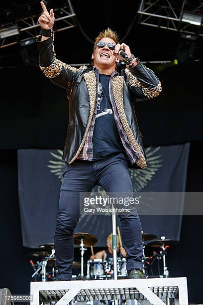 Chris Jericho of Fozzy performs on stage on Day 3 at Bloodstock Open Air Festival 2013 at Catton Hall on August 11 2013 in Derby England