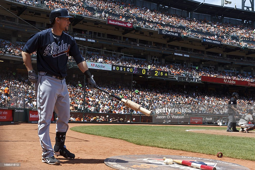Chris Johnson #23 of the Atlanta Braves stands in the on deck circle before an at bat against the San Francisco Giants during the fifth inning at AT&T Park on May 11, 2013 in San Francisco, California. The San Francisco Giants defeated the Atlanta Braves 10-1.