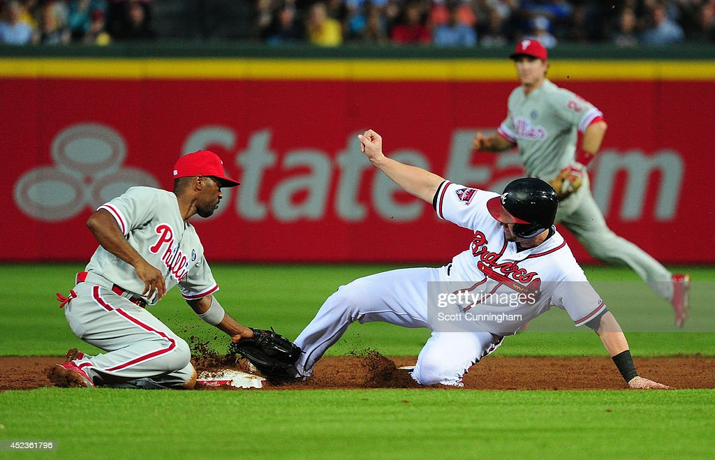 Chris Johnson #23 of the Atlanta Braves steals second base during the third inning against <a gi-track='captionPersonalityLinkClicked' href=/galleries/search?phrase=Jimmy+Rollins&family=editorial&specificpeople=204478 ng-click='$event.stopPropagation()'>Jimmy Rollins</a> #11 of the Philadelphia Phillies at Turner Field on July 18, 2014 in Atlanta, Georgia.