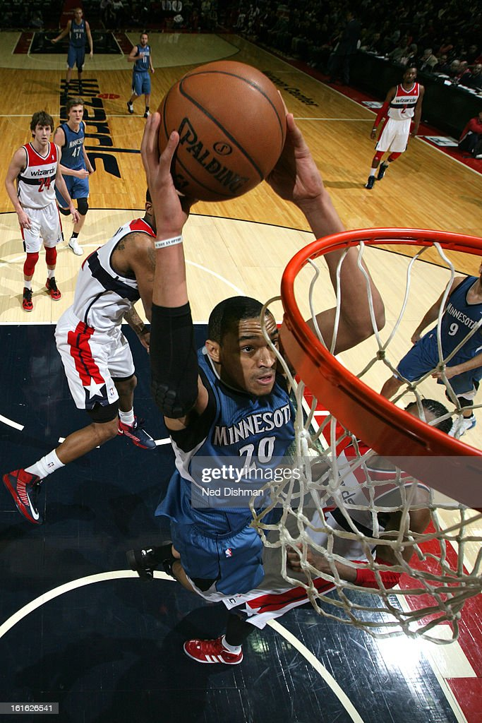 Chris Johnson #20 of the Minnesota Timberwolves dunks the ball against the Washington Wizards at the Verizon Center on January 25, 2013 in Washington, DC.