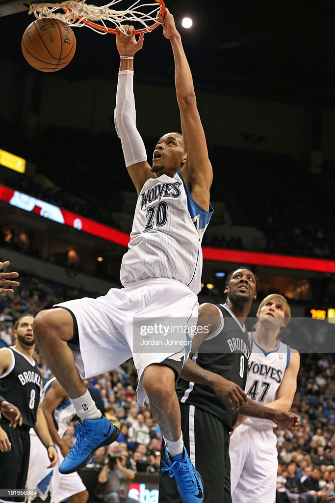 Chris Johnson #20 of the Minnesota Timberwolves dunks the ball against the Brooklyn Nets on January 23, 2013 at Target Center in Minneapolis, Minnesota.