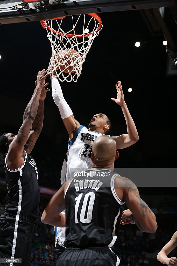 Chris Johnson #20 of the Minnesota Timberwolves goes to the basket during the game between the Minnesota Timberwolves and the Brooklyn Nets on January 23, 2013 at Target Center in Minneapolis, Minnesota.
