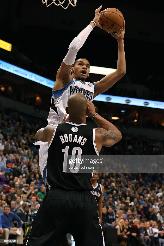 Chris Johnson #20 of the Minnesota Timberwolves grabs a rebound against the Brooklyn Nets on January 23, 2013 at Target Center in Minneapolis, Minnesota.