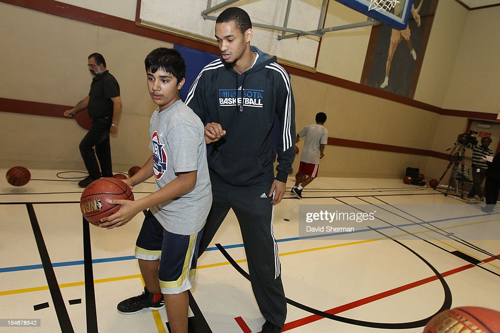 Chris Johnson #20 of the Minnesota Timberwolves participates in a youth clinic during NBA Canada Series 2012 on October 23, 2012 at the Magnus Eliason Recreation Centre in Winnipeg, Manitoba, Canada.