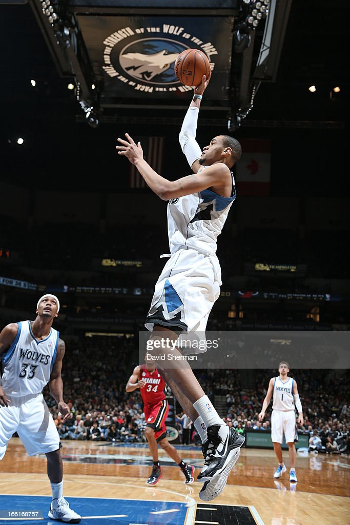 Chris Johnson #20 of the Minnesota Timberwolves puts up a shot against the Miami Heat on March 4, 2013 at Target Center in Minneapolis, Minnesota.