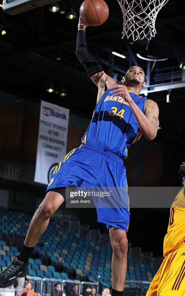 Chris Johnson #34 of the Santa Cruz Warriors shoots the ball against the Canton Charge during the 2013 NBA D-League Showcase on January 10, 2013 at the Reno Events Center in Reno, Nevada.