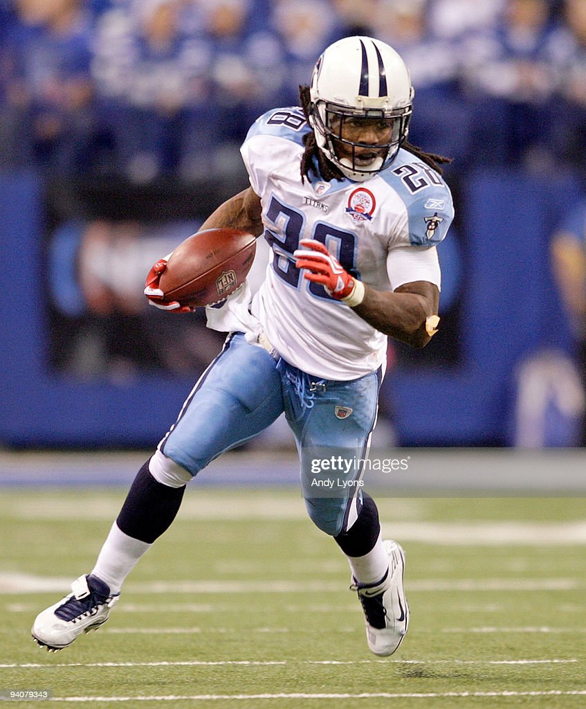 Chris Johnson of the Tennessee Titans runs with the ball during the NFL game against the Indianapolis Colts at Lucas Oil Stadium on December 6 2009...