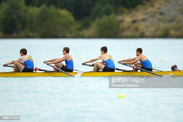 Chris Johnson Willem Van Der Kaag Reid Long Latham Jones and Henry Mathews compete in the Mens club coxed four final during the South Island Club...