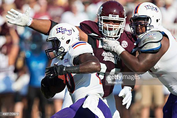 Chris Jone of the Northwestern State Demons runs the ball during a game against the Mississippi State Bulldogs at Davis Wade Stadium on September 19...
