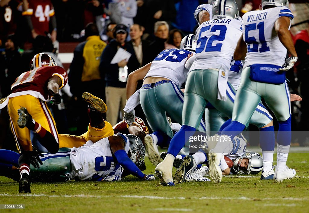 Chris Jones #6 of the Dallas Cowboys recovers a fumbled punt by wide receiver DeSean Jackson #11 of the Washington Redskins late in the second half of the Cowboys 19-16 win at FedExField on December 7, 2015 in Landover, Maryland.