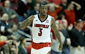 Chris Jones of the Louisville Cardinals celebrates during the game against the Ohio State Buckeyes at KFC YUM Center on December 2 2014 in Louisville...