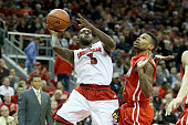 Chris Jones of the Louisville Cardinals shoots the ball during the game against the Cal State Northridge Matadors at KFC YUM Center on December 23...