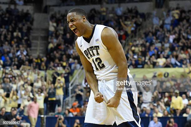 Chris Jones of the Pittsburgh Panthers reacts to a defensive stop against the Syracuse Orange during the second half at the Petersen Events Center on...