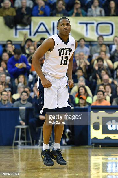 Chris Jones of the Pittsburgh Panthers reacts to a made basket against the Syracuse Orange during the first half at the Petersen Events Center on...