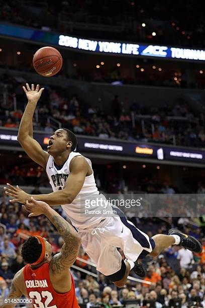 Chris Jones of the Pittsburgh Panthers shoots in front of DaJuan Coleman of the Syracuse Orange during the second half in the second round of the...