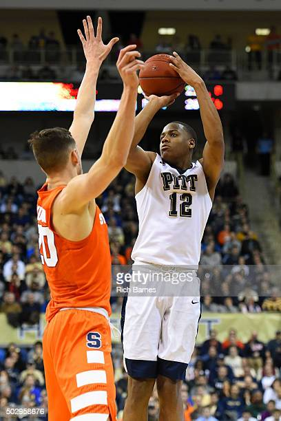 Chris Jones of the Pittsburgh Panthers shoots the ball as Tyler Lydon of the Syracuse Orange during the first half at the Petersen Events Center on...