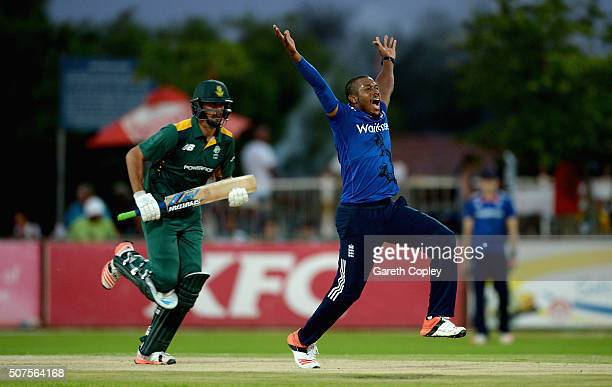 Chris Jordan of England appeals during the One Day Tour Match between South Africa A and England at the Diamond Oval on January 30 2016 in Kimberley...