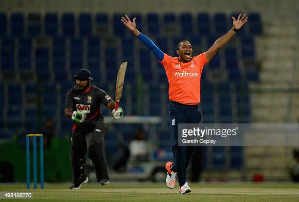 Chris Jordan of England appeals during the T20 Tour Match between UAE and England at Zayed Cricket Stadium on November 23 2015 in Abu Dhabi United...