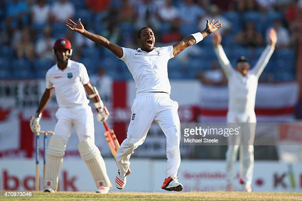 Chris Jordan of England appeals unsuccessfully for the wicket of Kraigg Brathwaite of West Indies during day four of the 2nd Test match between West...