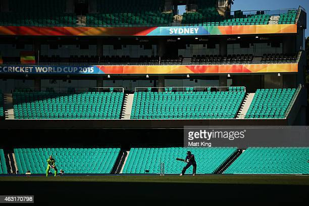 Chris Jordan of England bats during the ICC Cricket World Cup warm up match between England and Pakistan at Sydney Cricket Ground on February 11 2015...