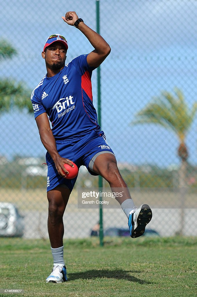 Chris Jordan of England bowls during a nets session at Sir Viv Richards Cricket Ground on February 24, 2014 in Antigua, Antigua and Barbuda.