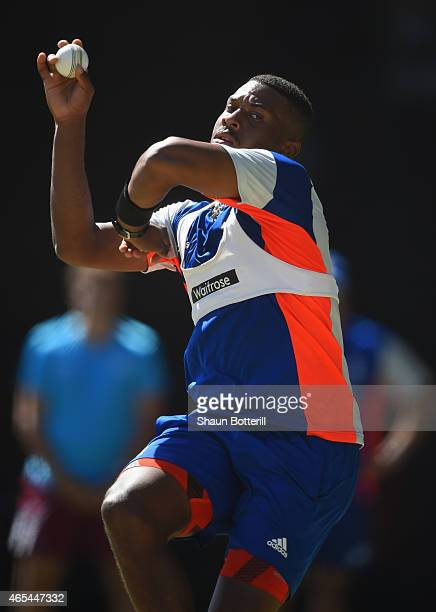 Chris Jordan of England bowls during an England nets session at Adelaide Oval on March 7 2015 in Adelaide Australia