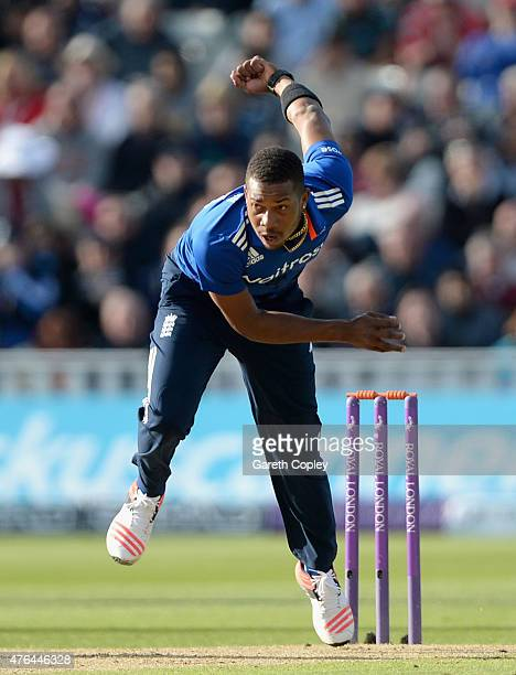 Chris Jordan of England bowls during the 1st ODI Royal London OneDay match between England and New Zealand at Edgbaston on June 9 2015 in Birmingham...