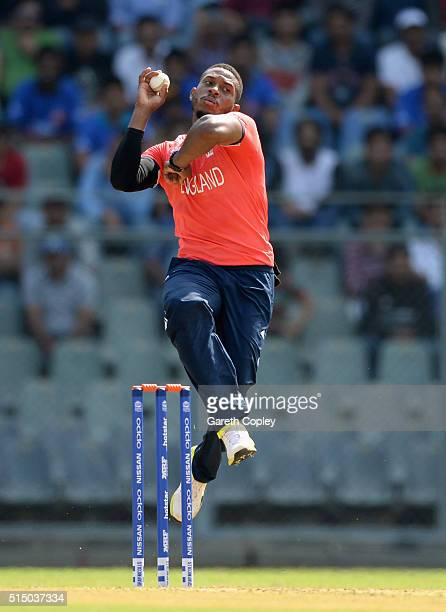 Chris Jordan of England bowls during the ICC Twenty20 World Cup warm up match between New Zealand and England at Wankhede Stadium on March 12 2016 in...