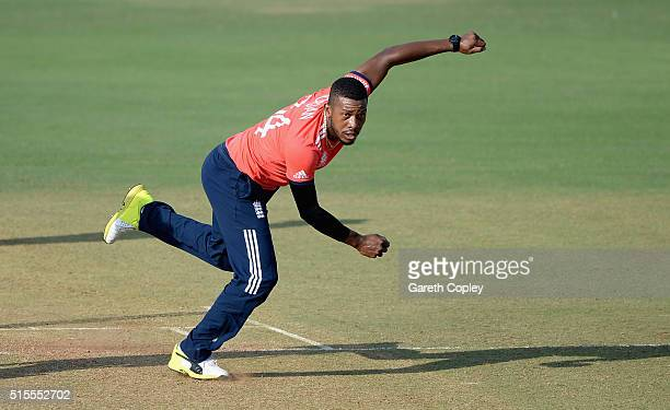 Chris Jordan of England bowls during the ICC Twenty20 World Cup Warm Up match between England and Mumbai Cricket Association XI at Brabourne Stadium...