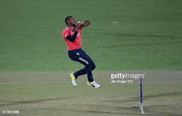 Chris Jordan of England bowls during the ICC World Twenty20 India 2016 Super 10s Group 1 match between England and Sri Lanka at The Feroz Shah Kotla...