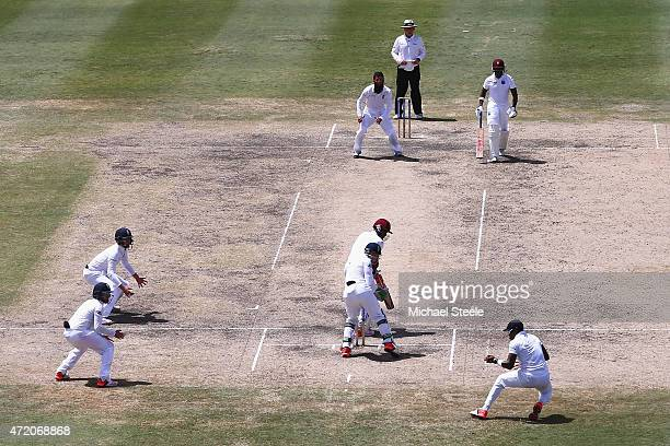 Chris Jordan of England catches Kraigg Brathwaite of West Indies at first off the bowling of Moeen Ali during day three of the 3rd Test match between...