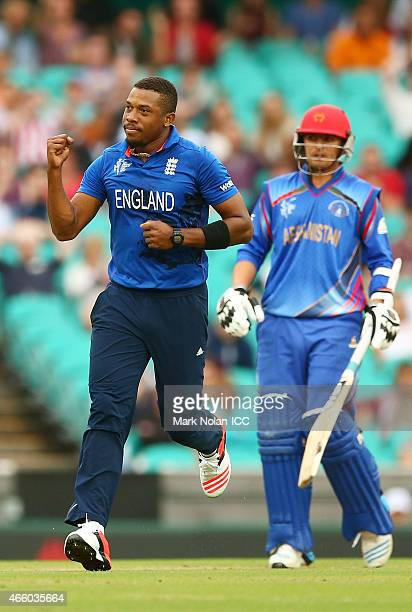 Chris Jordan of England celebrates after claiming a wicket during the 2015 Cricket World Cup match between England and Afghanistan at Sydney Cricket...