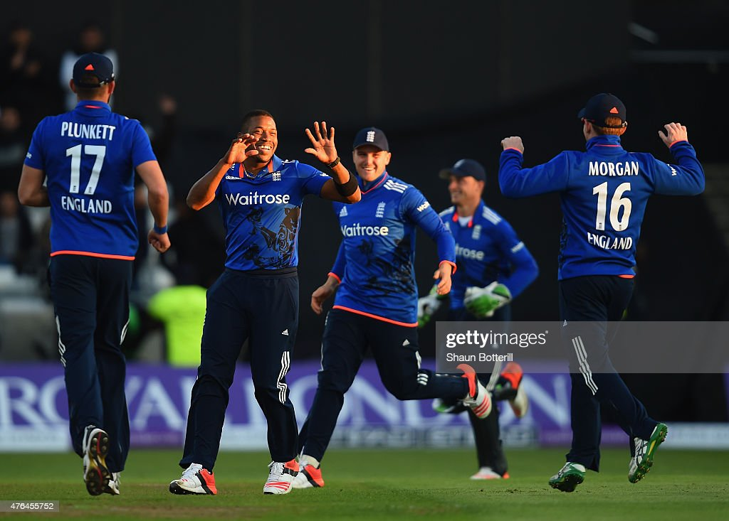 Chris Jordan of England celebrates after taking the final wicket during the 1st ODI Royal London OneDay Series 2015 match between England and...