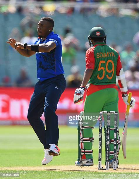 Chris Jordan of England celebrates after taking the wicket of Soumya Sarkar of Bangladesh during the 2015 ICC Cricket World Cup match between England...