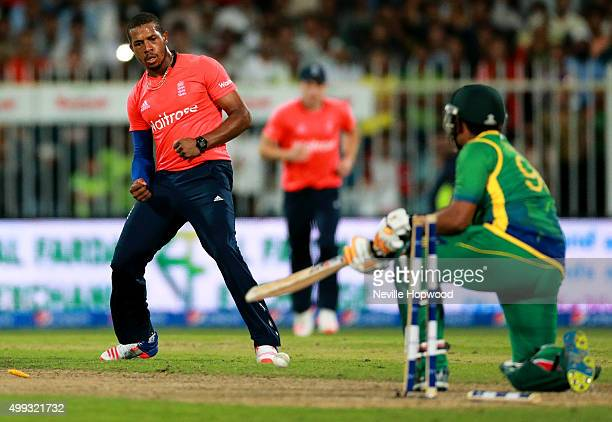 Chris Jordan of England celebrates bowling Umar Akmal of Pakistan during the 3rd International T20 match between Pakistan and England at Sharjah...