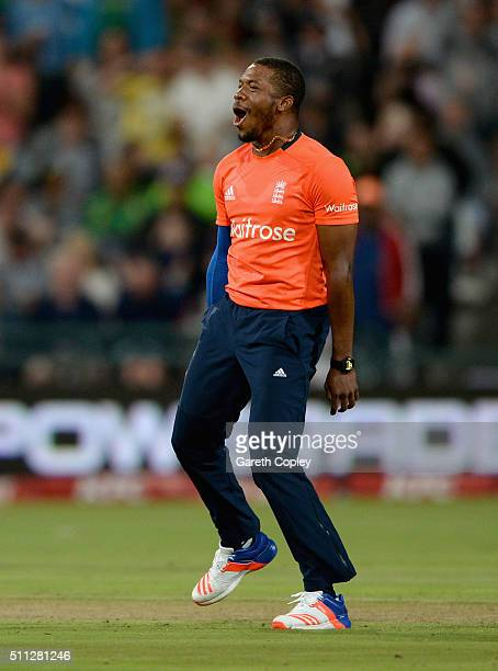 Chris Jordan of England celebrates dismissing AB de Villiers of South Africa during the 1st KFC T20 International match between South Africa and...